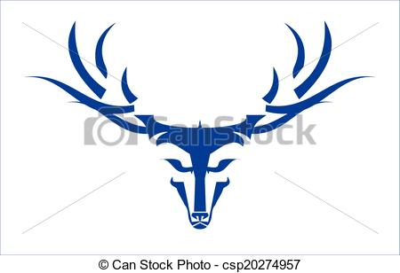 Clipart Vector of Stylized Long Horn Wild Blue Buck.