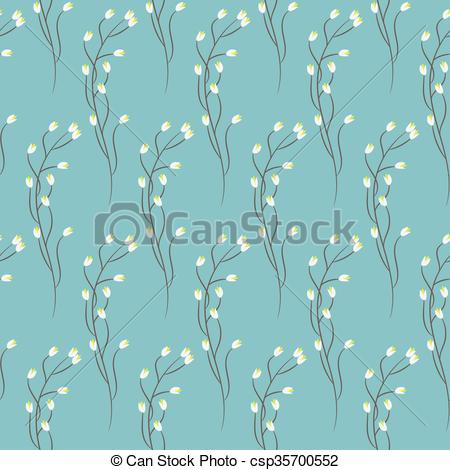 Clipart Vector of Spring wild blue flower field seamless pattern.