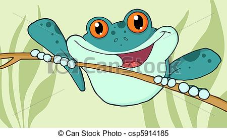 Clipart Vector of Wild Blue Frog On A Twig.