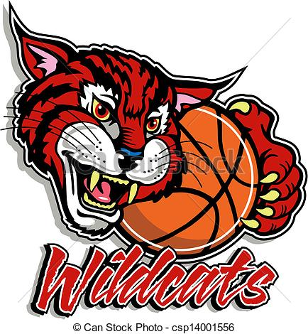 cute wildcat with basketball.