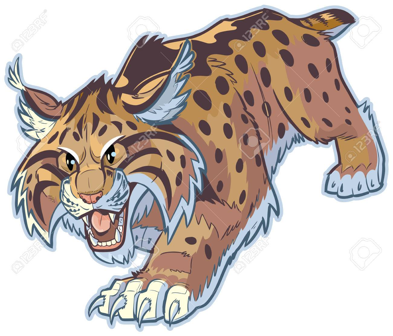 Vector cartoon clip art illustration of a hungry bobcat or wildcat...