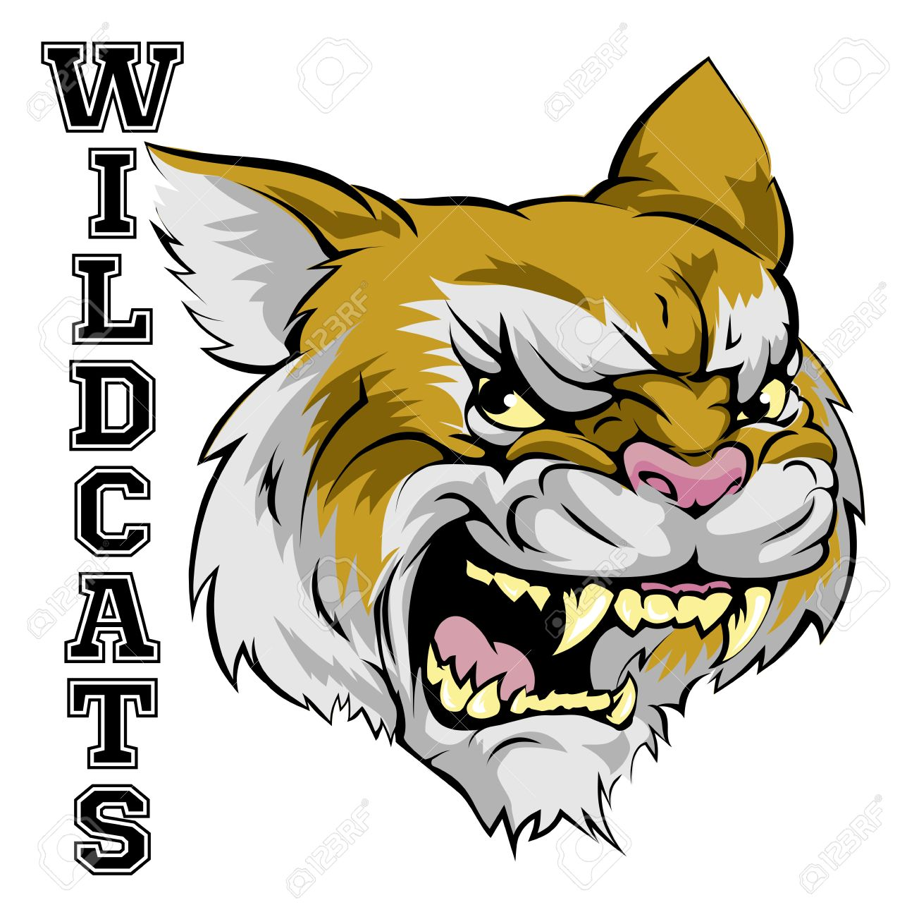 An illustration of a cartoon wildcat sports team mascot with...