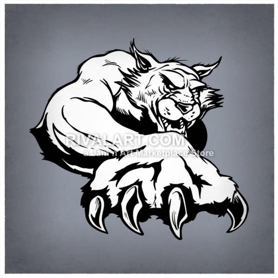 Black White Wildcats Bobcats Black White Mascot For.