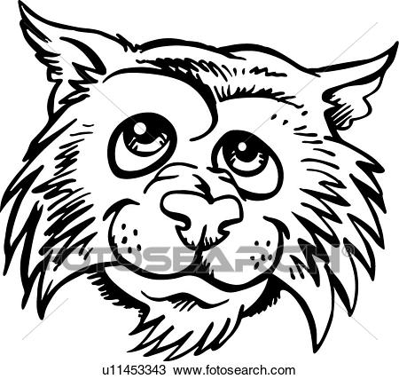 Wildcat Casual Head Clipart.