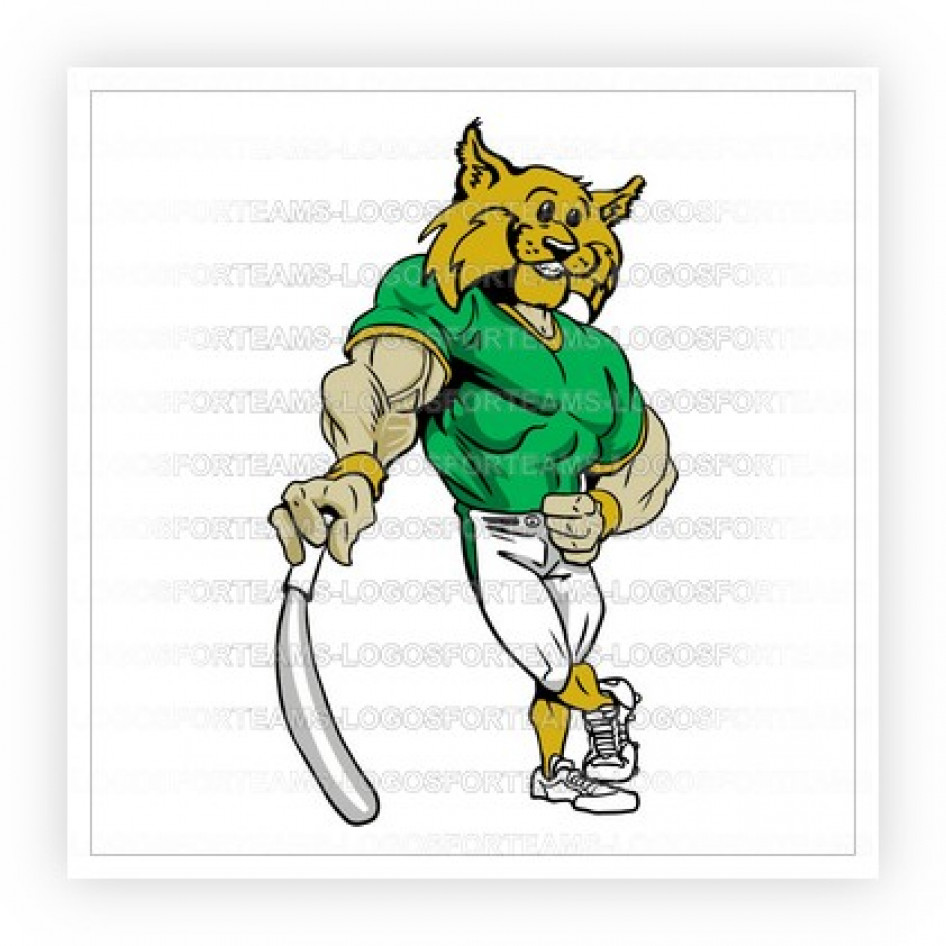 Mascot Logo Part of a Wildcat Leaning On A Baseball Bat.