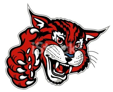 wildcat mascot with paw Clipart Image.