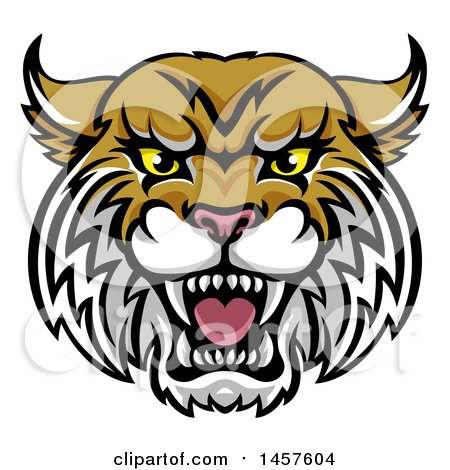 Clipart Of A Vicious Wildcat Mascot Head Royalty Free Vector Cheap.