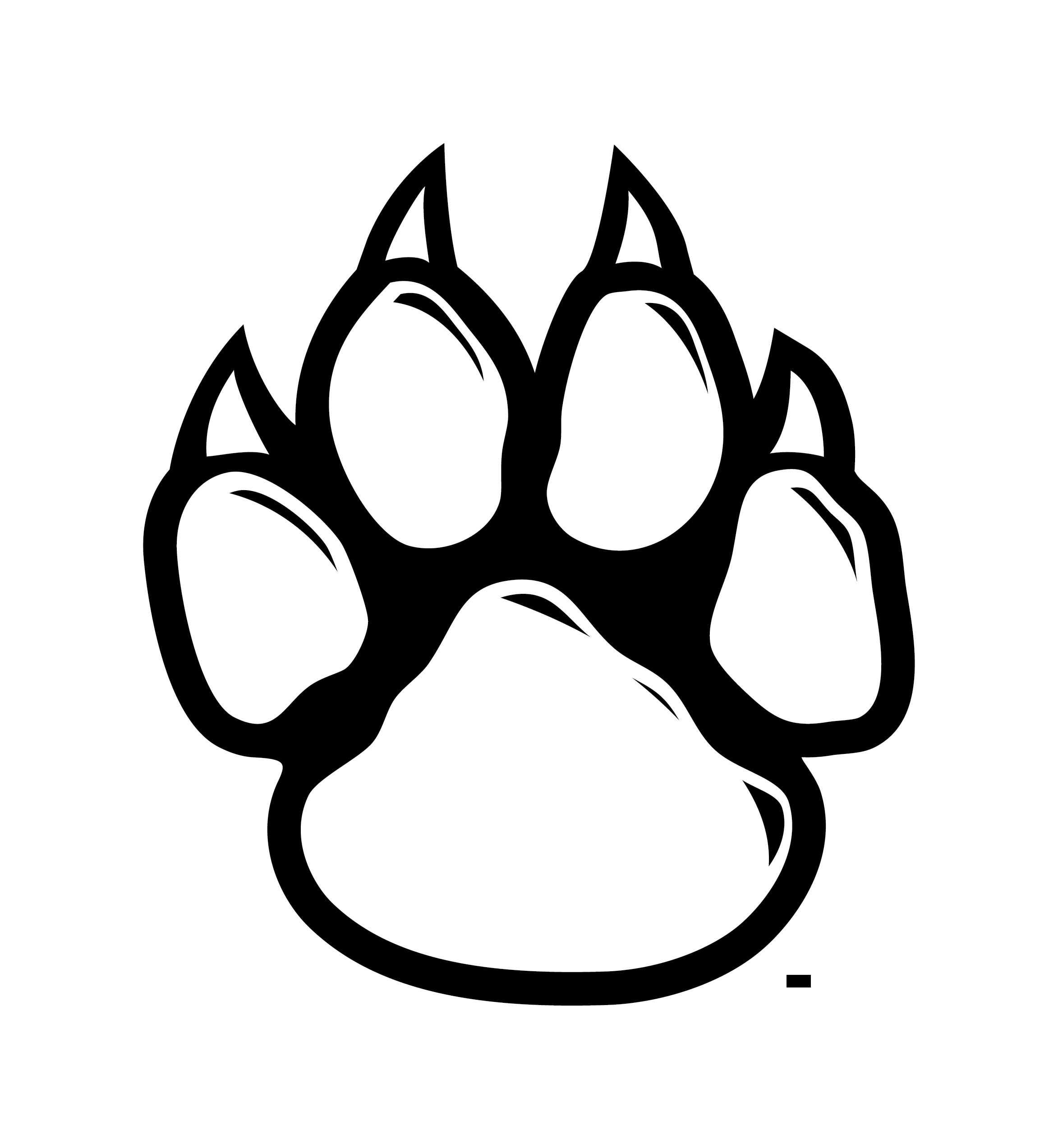 arizona wildcat pawprint black and white.