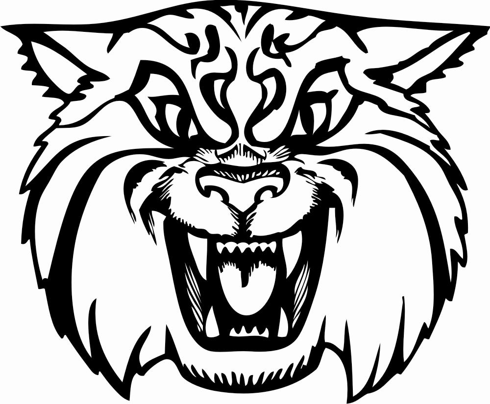 Wildcat clipart black and white.