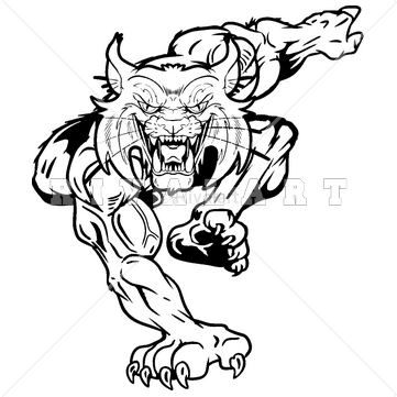 Mascot Clipart Image of A Black And White Wildcats Graphic.
