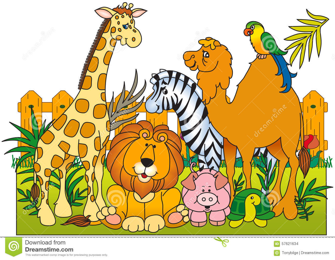 Wild Animals Group Stock Photo.