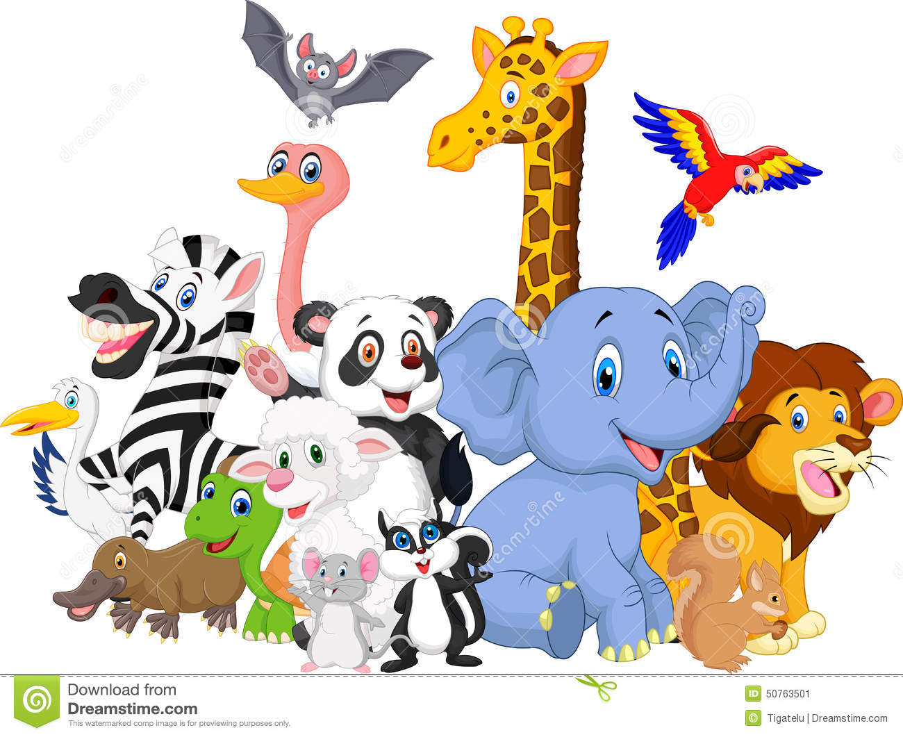 Forest Wild Animals Cartoon Group Royalty Free Stock Photo.