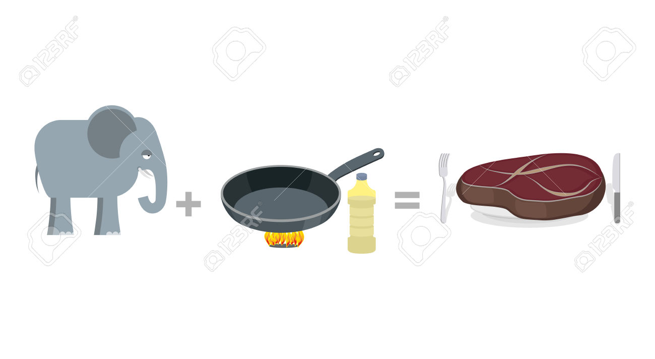 Cooking Instruction Elephant. Big Elephant And Pan, As Well Large.