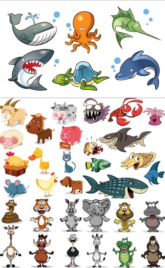 Cartoon animals vector 2. 5 sets with vector cartoon animals, sea.