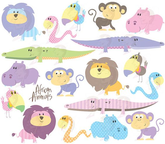 Cute Animals Clipart Baby African Animal Clip Art Baby Shower.
