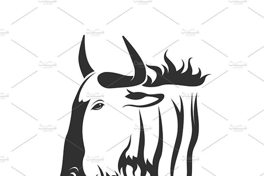 Vector of a wildebeest head..