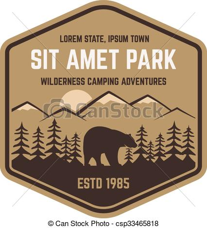 Clipart Vector of National park retro style badge. Mountain.