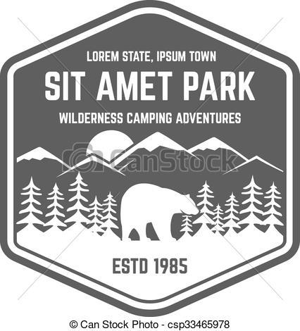 Vectors Illustration of National park vintage badge. Mountain.