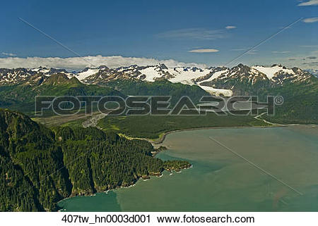 Stock Photography of Petrof Glacier and the Kenai Mountains in.