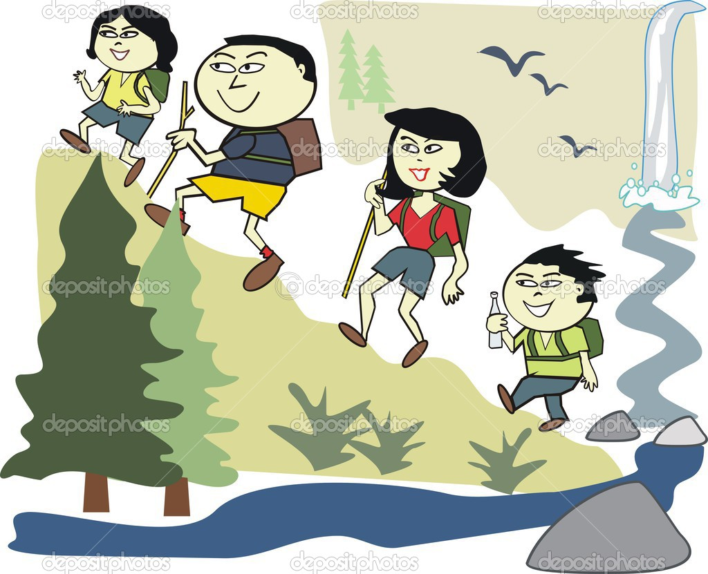 Vector cartoon of happy Asian family hiking in wilderness park.
