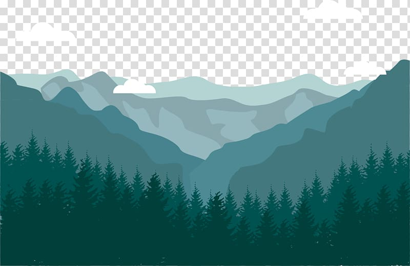 Green mountain with trees illustration, Flat design.
