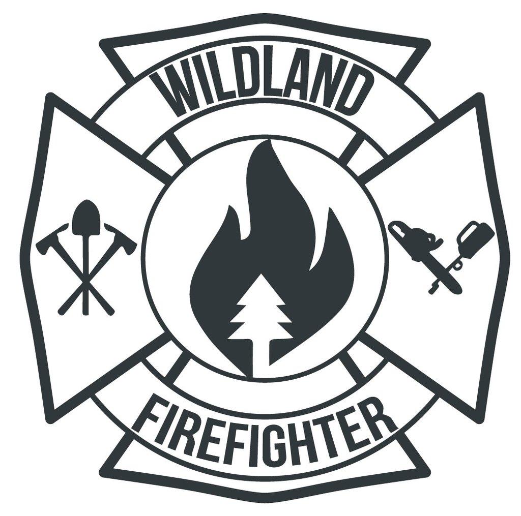 Wildland Firefighter Maltese Cross Window Decal Police Fire.