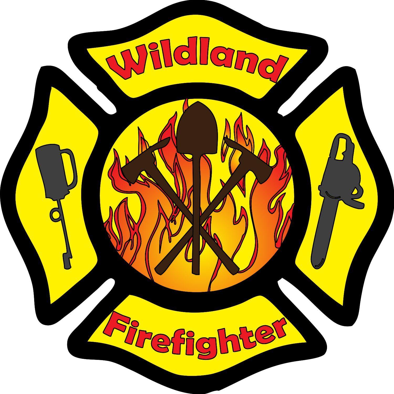 Wildland Firefighter Maltese Cross Tools Decal.