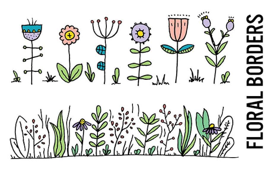 Wildflower Border Clipart.