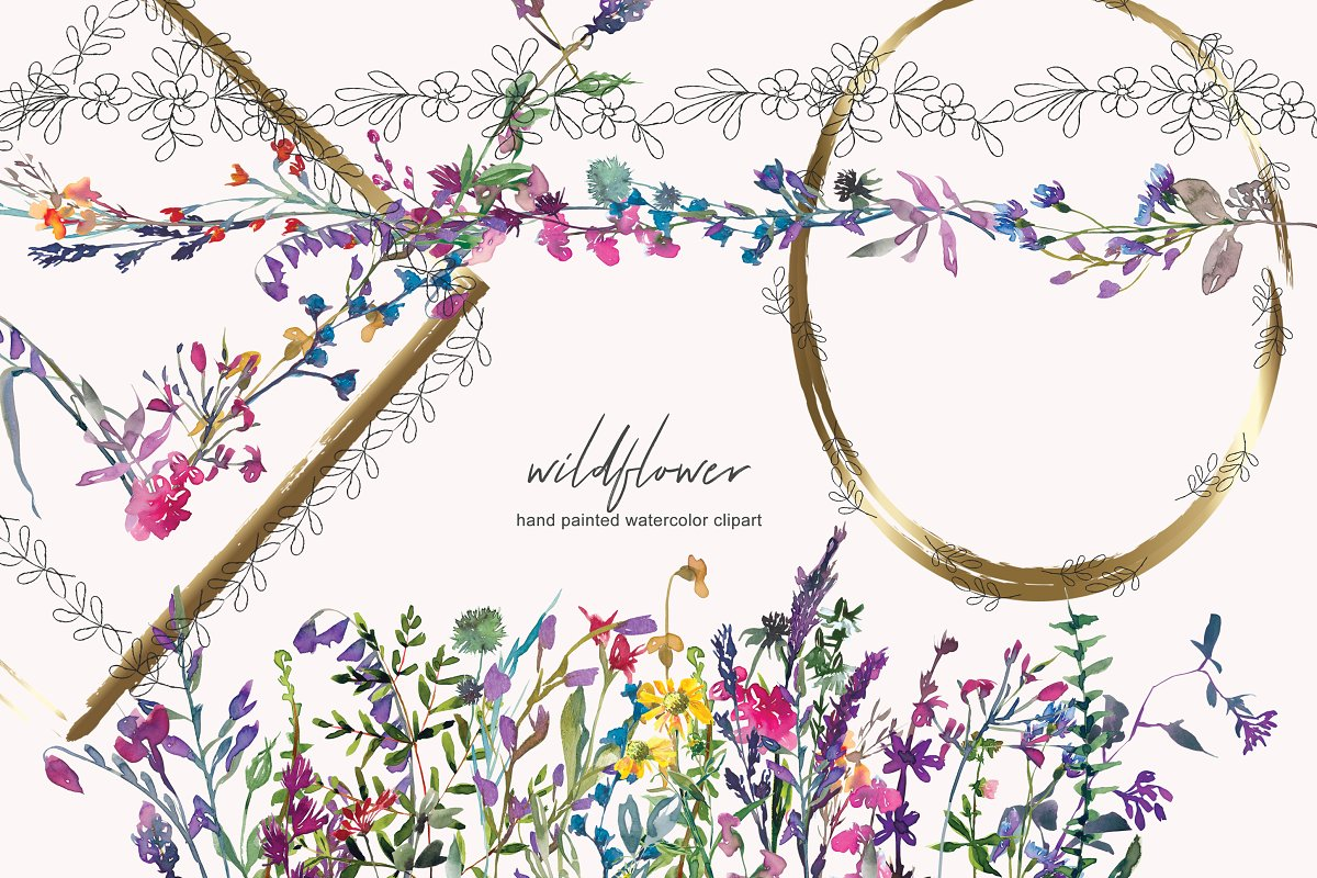 Watercolor Wildflower Clipart.