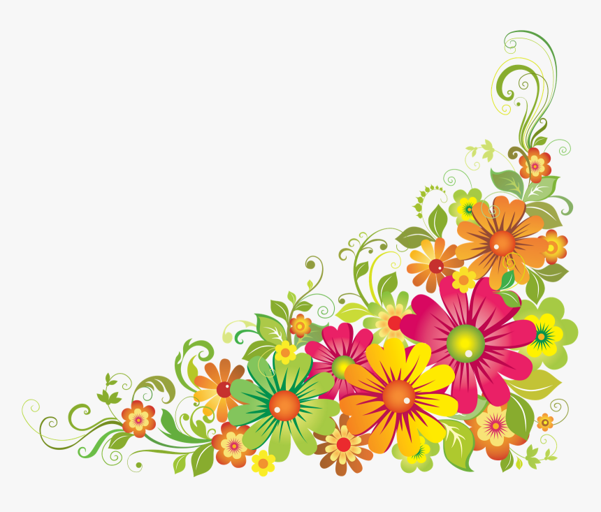 Wildflower Clipart Corner Border Flower.