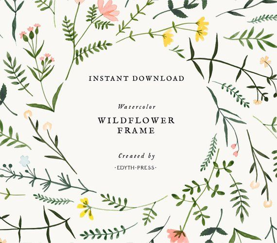 Wildflower Watercolor Floral Border Clipart Frame Botanical.
