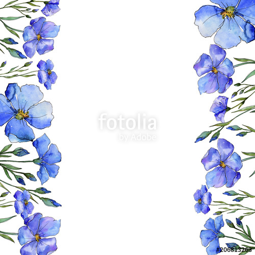 Blue flax. Floral botanical flower. Frame border ornament.