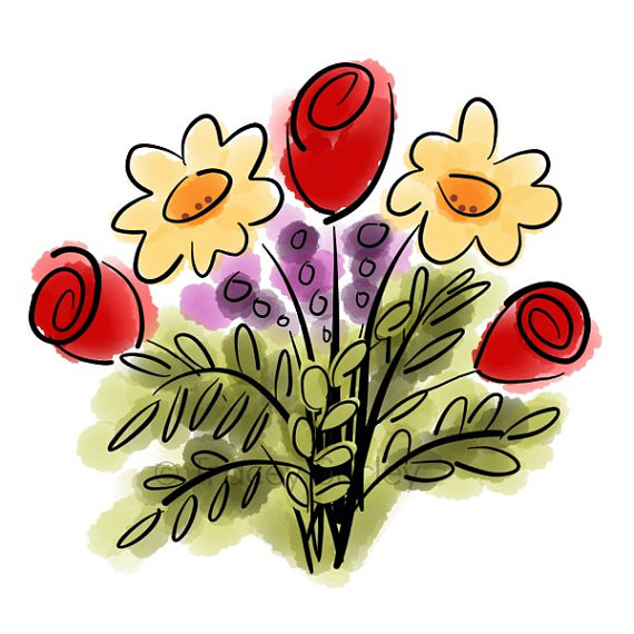 Wildflower Bouquet Clipart.