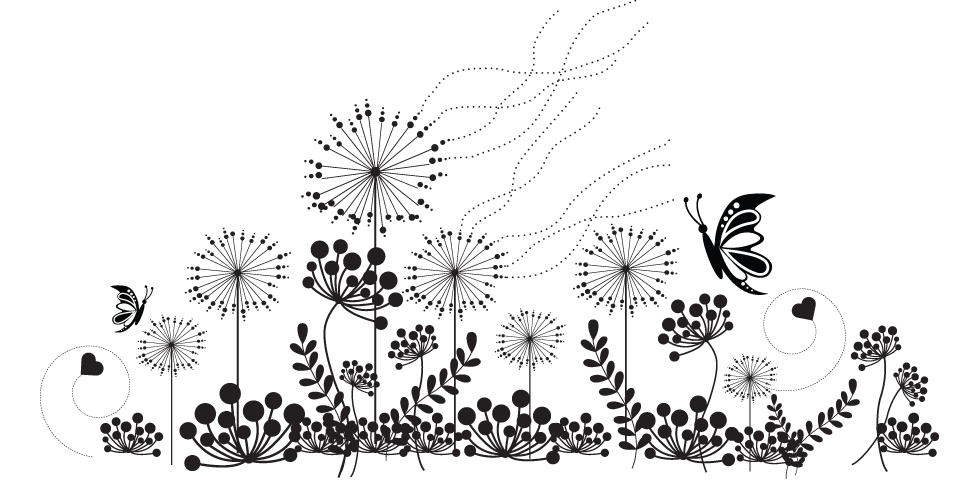 Wildflower Clipart Black And White.