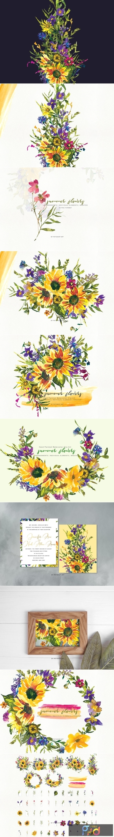 Watercolor Sunflower Wildflower Clipart 1505794.