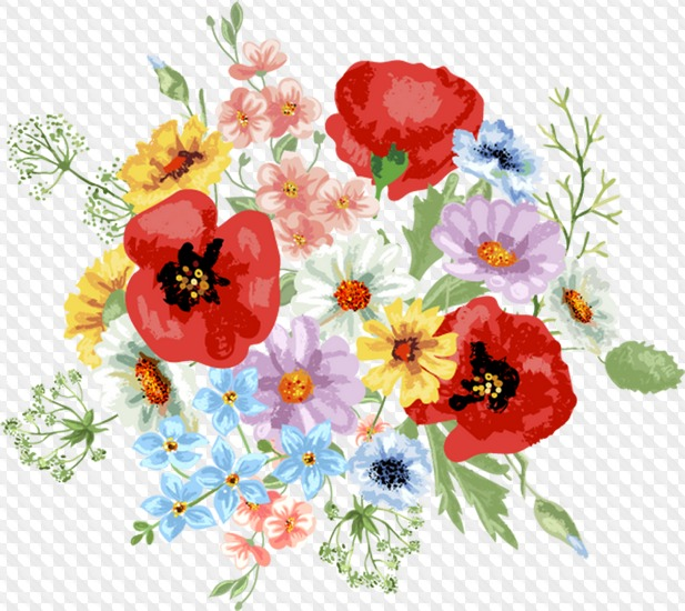 Wild flowers Clipart psd with transparent background download.