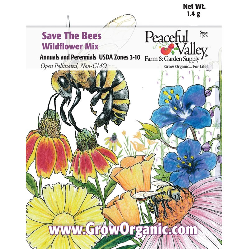 """Peaceful Valley """"Save the Bees"""" Wildflower Seed Mix."""