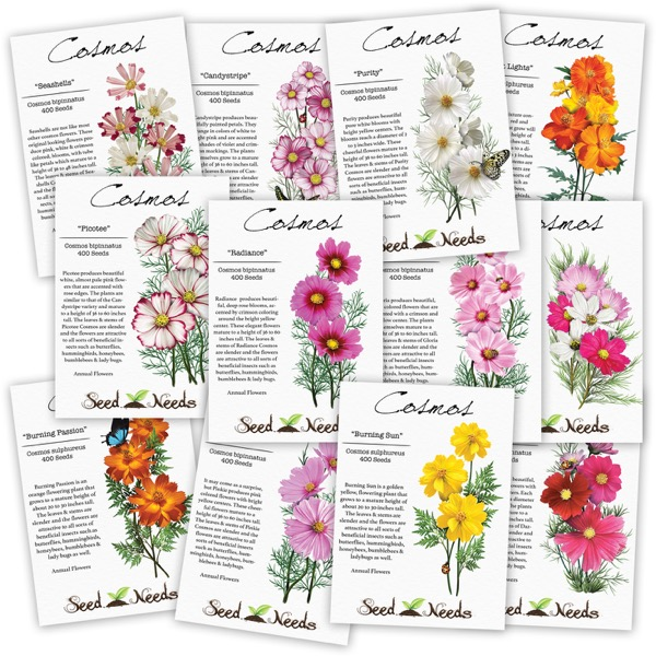 Cosmos Wildflower Seed Assortment (12 Individual Packages).