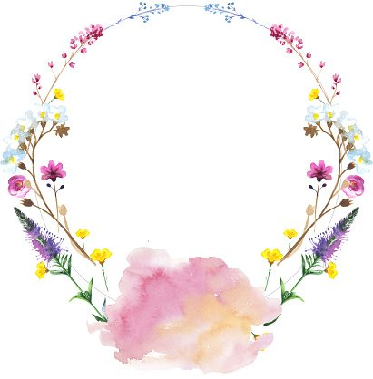 Painted flower wreath of wildflowers in a watercolor style.