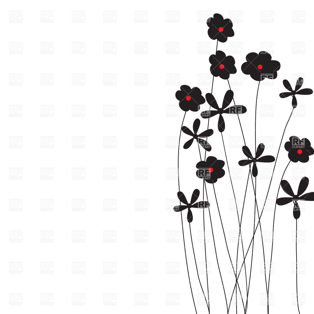 Silhouettes of simple wildflowers Stock Vector Image.