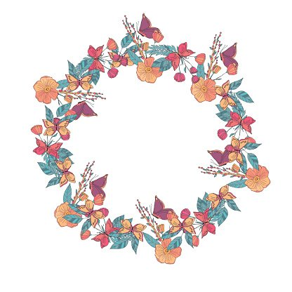 Floral wreath made of wildflowers Clipart Image.