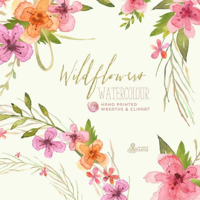 Wildflowers Watercolour Bouquets & Wreaths. Digital Clipar.
