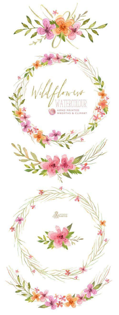 Wildflowers Watercolour Bouquets & Wreaths. Digital Clipart.