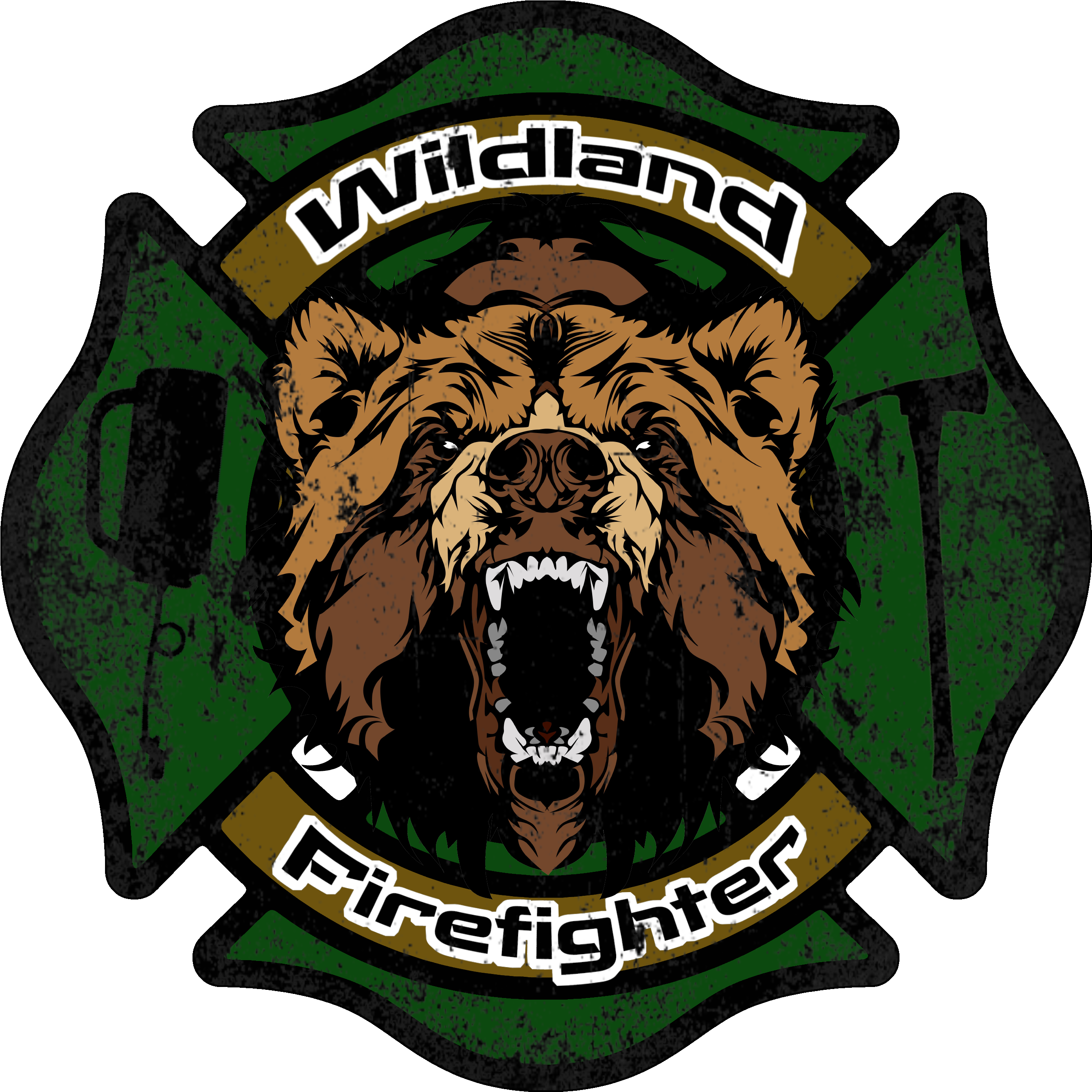 Wildland Firefighter Decal Clipart.