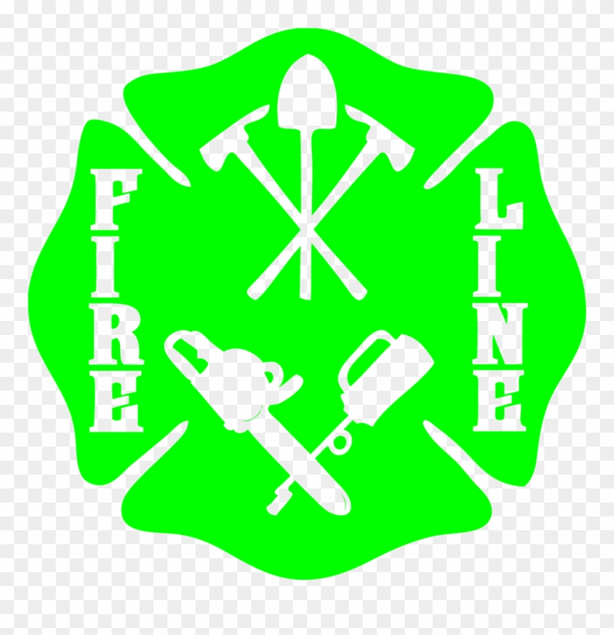 Wildland Firefighter Fire Line Maltese Cross Decal Clipart.