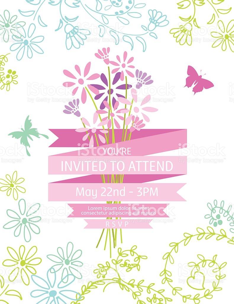 Wild Blume Bouquet Einladung Vorlage Für Gartenparty Oder Feier.