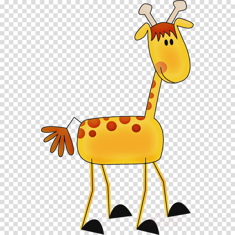 yellow cartoon animal figure giraffidae wildlife clipart.
