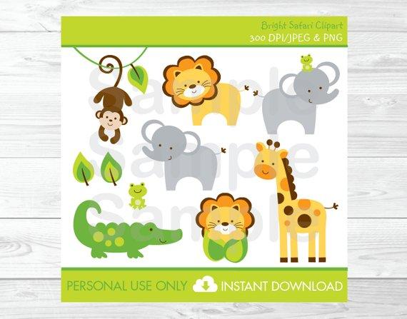 Cute Jungle Animal Clipart / Safari Animal Clipart / Jungle.