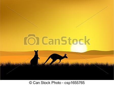Clipart Vector of Sunset in Australia.