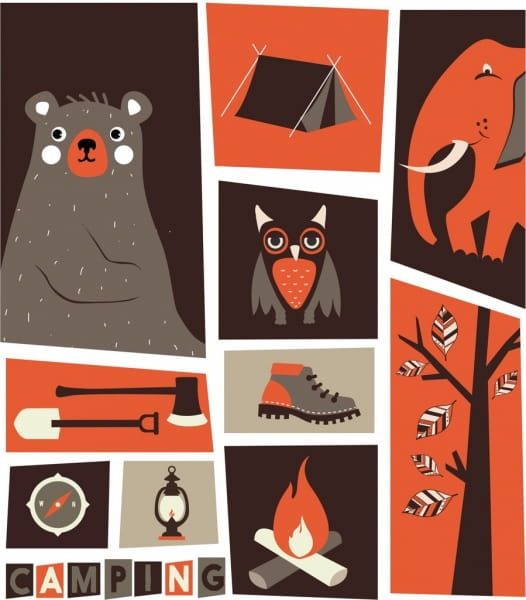 Wildlife camping design elements classical cartoon icons eps.